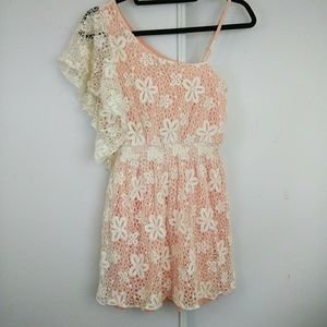 Peach White Floral Lace One Shoulder Spring Dress